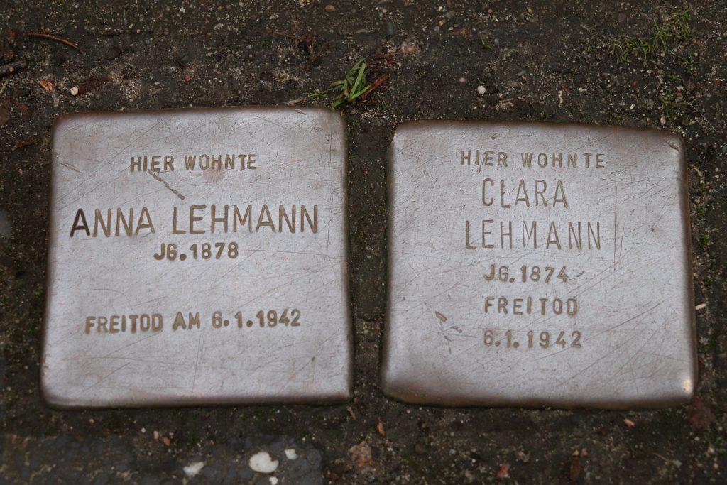 Stolpersteine der Schwestern Anna und Clara Lehmann Heilwigstraße 46 in Hamburg/ Foto: Corinna Below