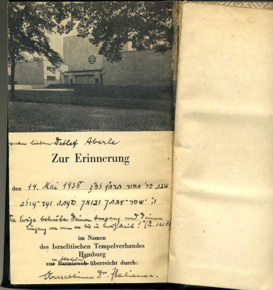 Detlef Aberles Gebetbuch mit Widmung von Oberrabbiner Dr. Italiener/ Quelle: Detlef Aberle